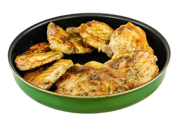 Baked pork in a frying pan