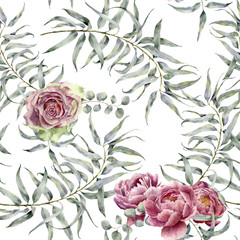 Watercolor pattern with eucalyptus and flower. Hand painted floral ornament with branches with leaves, peony and rose isolated on white background. Natural print for design, fabric.