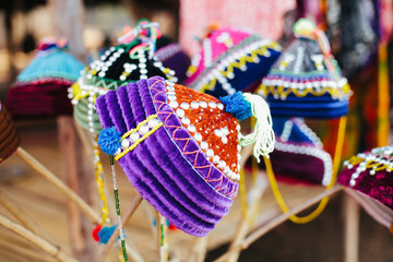 Handmade Colorful Karen Hilltribe Hat from Thailand