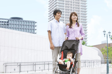 Parents with Baby Boy in Buggy