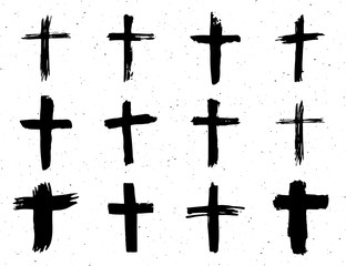 Grunge hand drawn cross symbols set. Christian crosses, religious signs icons, crucifix symbol vector illustration isplated on white background.