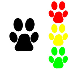 Paw of beautiful pet in colors of traffic lights, vector icon