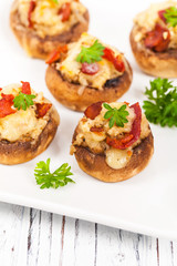 Bacon Stuffed Mushrooms with Breadcrumbs and Cheese. Selective focus.
