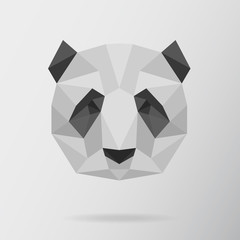 Panda bear animal low poly design. Triangle vector illustration.
