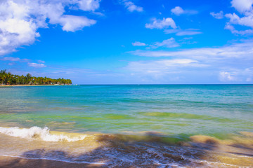 Poster Zuid Afrika Beautifull beach in Dominican Republic. Blue sea and sky