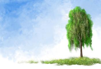 tree, sky, digital paintings