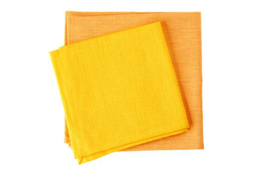 Two colorful textile napkins on white