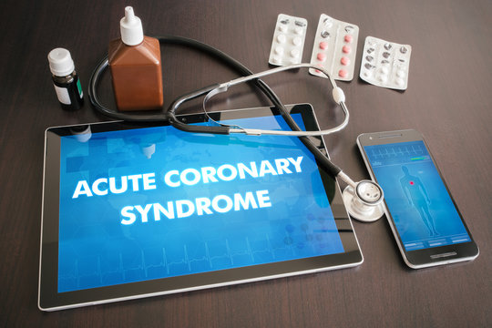 Acute coronary syndrome (heart disorder) diagnosis medical concept on tablet screen with stethoscope