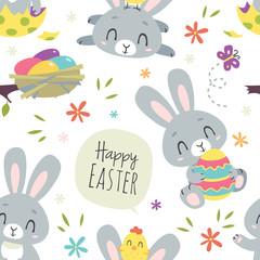 vector cartoon style easter bunny seamless pattern