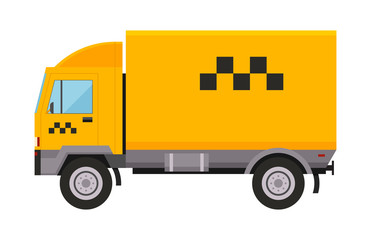 Yellow taxi truck van vector illustration car transport isolated cab city service traffic icon symbol passenger urban auto sign delivery commercial