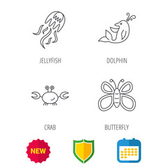 Jellyfish, crab and dolphin icons. Butterfly linear sign. Shield protection, calendar and new tag web icons. Vector