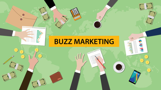 illustration of buzz marketing discussion in a meeting with paperworks, folder document and money on top of table and world map as background