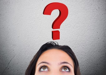 Woman looking at question mark graphic above her head