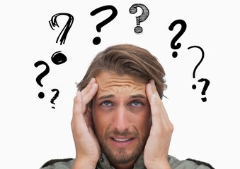 Confused man with graphic question mark over head