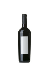 Red Wine on White Background with Blank Label