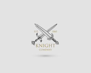 Swords Logo, medieval knight dagger antique vintage symbol , engraved hand drawn in sketch or wood cut style, old looking retro