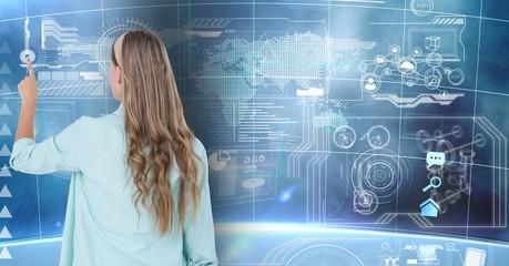 Woman using digital interface screen