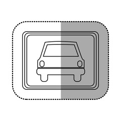 figure square with car front inside, vector illustration design