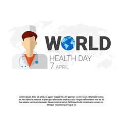 Earth Planet Health World Day Global Holiday Banner With Copy Space Flat Vector Illustration