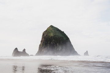 View of Haystack Rock in ocean