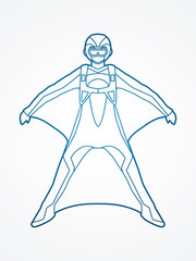 Wing suit extreme sports outline graphic vector