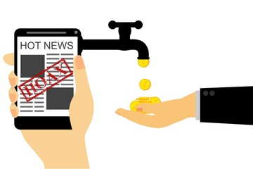 Illustration for Get Earn from Hoax (Fake) News, Isolated on White