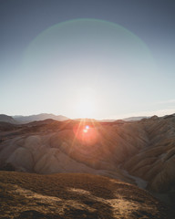 View of sunrise at death valley mountains