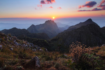 Beautiful scenery during time the sunset view from top of Doi Luang Chiang Dao at Chiang Mai province in Thailand is a very popular for photographer and tourists. Attractions and natural Concept