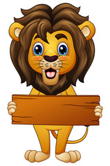 Cartoon lion holding an empty wooden board