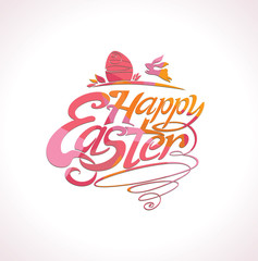 Happy Easter handwritten template for holiday. Beautiful red pink vector lettering.