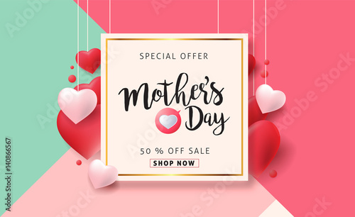 mothers day sale background layout with heart shaped balloons for
