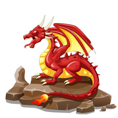 Dragon Fire animal cartoon. Vector illustration