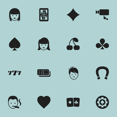 Set Of 16 Editable Gambling Icons. Includes Symbols Such As Card Pair, Game Card, Black Heart And More. Can Be Used For Web, Mobile, UI And Infographic Design.