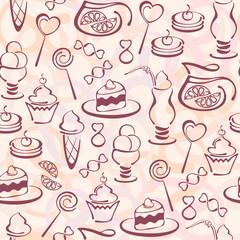Векторный бесшовный узор. Иконки сладостей. Кондитерские изделия.