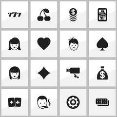 Set Of 16 Editable Game Icons. Includes Symbols Such As Bones Game, Card Pair, Boy And More. Can Be Used For Web, Mobile, UI And Infographic Design.