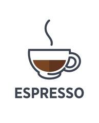 Coffee espresso drink steam cup vector flat cafe icon