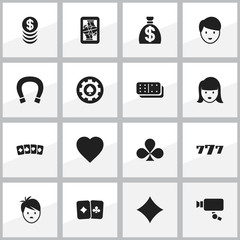 Set Of 16 Editable Casino Icons. Includes Symbols Such As Luck Charm, Lucky Seven, Love And More. Can Be Used For Web, Mobile, UI And Infographic Design.