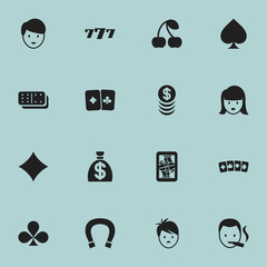 Set Of 16 Editable Gambling Icons. Includes Symbols Such As Berry;, Moneybag, Stacked Money And More. Can Be Used For Web, Mobile, UI And Infographic Design.