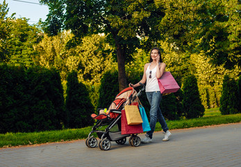 Mother with child in carriage