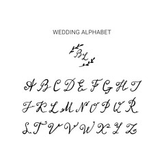 Hand drawn wedding alphabet. Uppercase vector calligraphy for bridal logo.