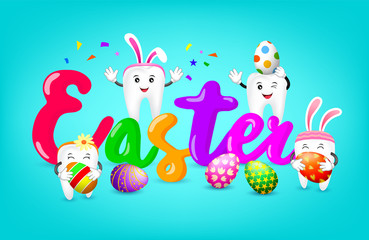 Easter text with cute cartoon white tooth characters. Happy Easter day concept, illustration on blue background.
