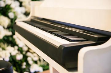 White piano in the garden.