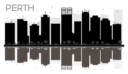 Perth City skyline black and white silhouette with reflections.