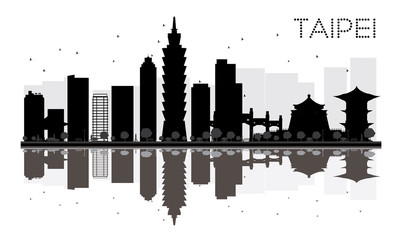 Taipei City skyline black and white silhouette with reflections.