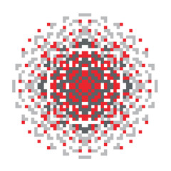 Vector pixel oriental gray-red pattern made of small squares on a white background. Mosaic, background, embroidery, wallpaper, kaleidoscope, mandala. Vector illustration.