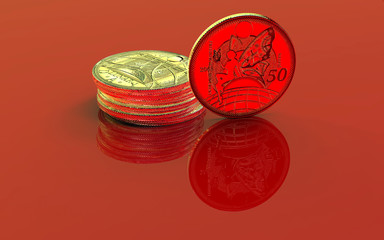 Golden coins on the red reflective background