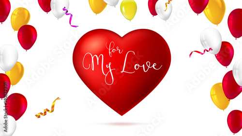 Romantic greeting card big red heart with color inflatable romantic greeting card big red heart with color inflatable balloons abstract background m4hsunfo