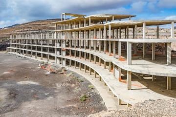 Bauruine- unfertige Hotelanalge auf Fuertefentura, Bauruine, unfertige Bettenburg bei Jandia in der Provinz Las Palmas