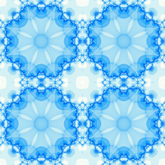 Seamless fractal based tile with a round mandala design in shades of icy blue. For print on textiles, sheets, tablecloths, wrapping paper, wall/floor tiles for kitchen/bathroom/hall or interior.