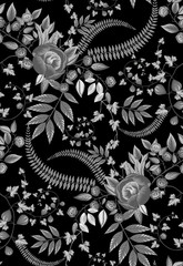 seamless black and white Floral Wallpaper and black background